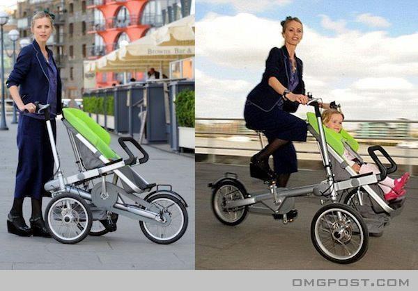 Carrinho de bebë que se transforma em bicicleta.