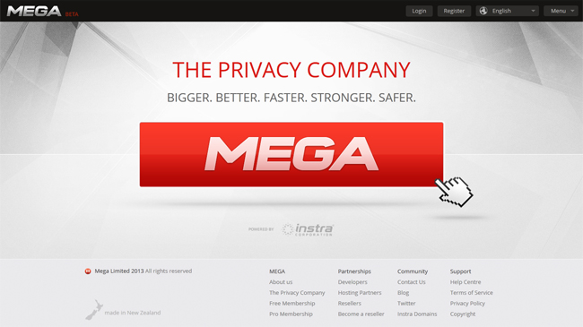 Homepage do Mega: serviço oferece gratuitamente 50 GB de espaço na nuvem