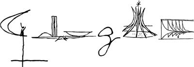 Doodle comemorativo do Aniversario de Brasilia 2012 feito com a colaboração de Oscar Niemeyer.