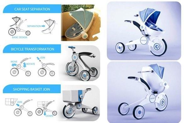 Carrinho de bebê, bicicleta, carrinho de compras e cadeirinha para automóvel, tudo num só produto,