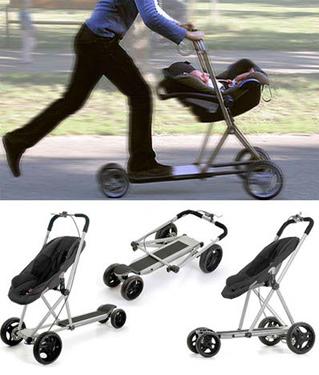 Carrinho de bebê que também é patinete.