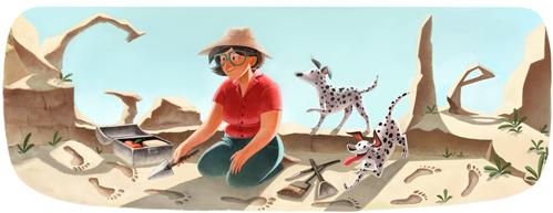 doodle comemorativo do Aniversario de 100 anos de Mary Leakeys