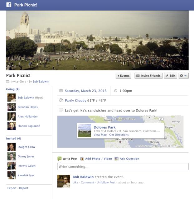 Na nova funcionalidade do Facebook 2013 é possível adcionar o clima/tempo dos eventos