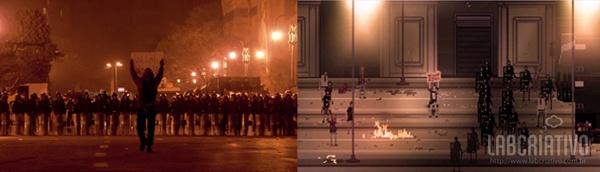 À esquerda, foto no Cairo na qual Mechiari se inspirou; à direita, cena do jogo RIOT, que simula protestos contra polícia