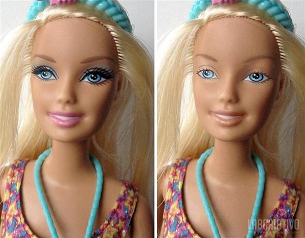 boneca Bárbie com e sem maquiagem