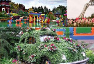 Show.....no Jardim Botânico de Montreal, uma explosão de cores. E os tons não vêm apenas das flores. O local reúne objetos de todos os tipos: estufas, esculturas que imitam cavalinhos e outros elementos que formam um cenário lúdico. Tem até uma plantação sobre o capô de um fusca...