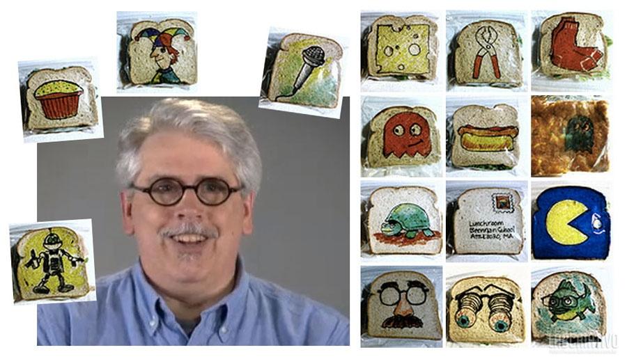 LaFerriere criou mais de 1000 figuras divertidas nos saquinhos de sanduiches para seus filhos...