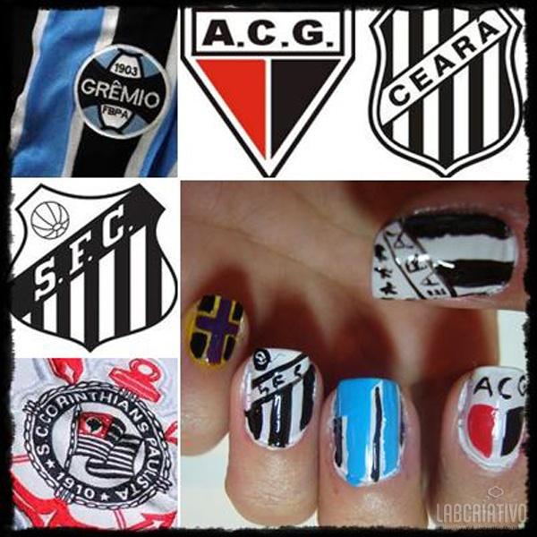 Unhas Criativas para Torcedoras de Futebol - Para Torcedoras do Grêmio, Atlético Goianiense, Ceará, Santos e Corinthians