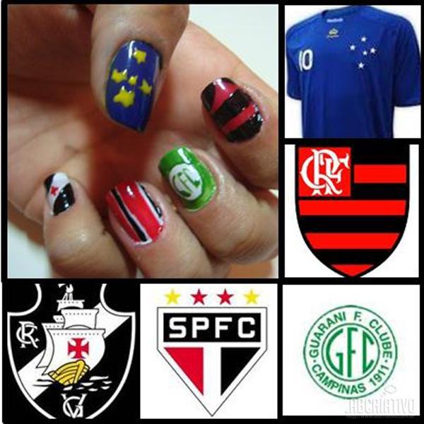 Unhas Criativas para Torcedoras de Futebol - Para Torcedoras do Vasco, São Paulo, Guarani, Flamengo e Cruzeiro