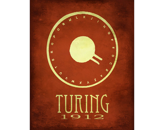 Alan Turing Code Breaker Machine Steampunk Rock Star Scientist Poster Fine Art Computer Geek Print Cypher WW II