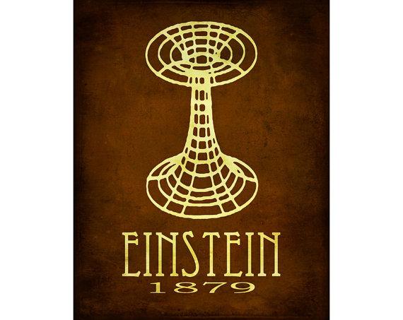 Albert Einstein Science Art Print Relativity Physics Geek Chic Diagram Wormhole Space Decor Nerd Scientific Rock Star Scientist Poster