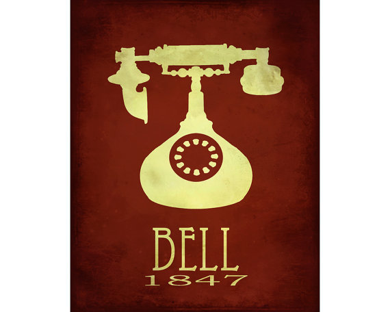 Alexander Graham Bell Steampunk Rock Star Scientist Telephone Phone Poster Office Geek Smart Dorm Deco