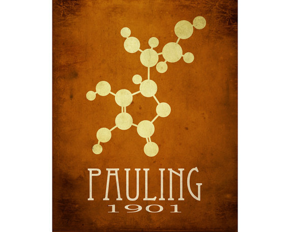Linus Pauling Science Art Print Molecular Structure, Molecule Diagram, Scientist Poster Steampunk Rock Star Scientist Geek Office Decor