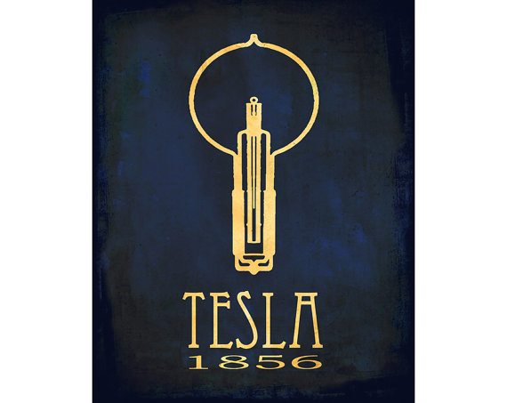 Nikola Tesla Art Print Rock Star Scientist Physics Diagram Educational Posters Light Bulb Geek Chic Smart Dorm Decor