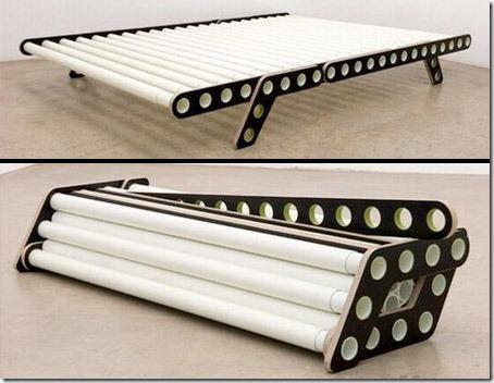 Cama moldável – Ela pode ser modificada para suportar diferentes tamanhos de colchões.