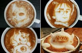 Arte na espuma do café