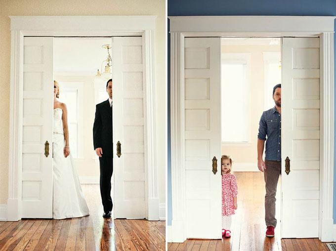 Ben Nunery e a pequena Olivia reproduziram cenas do álbum de fotografias