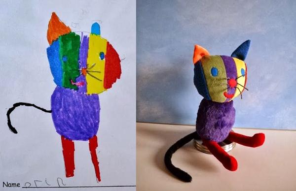 Pai transforma desenhos de seu filho de 4 anos em bichinhos de pelúcia