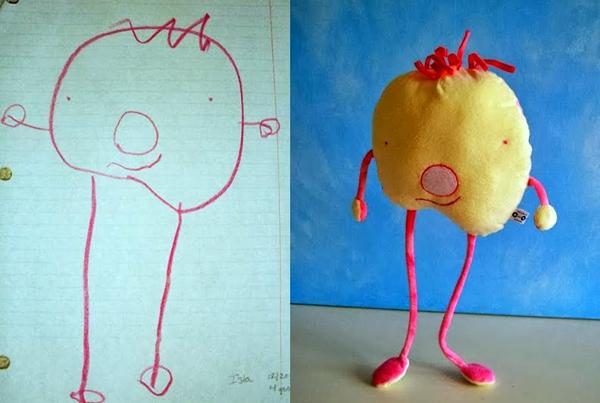Pai traPai transforma desenhos de seu filho de 4 anos em bichinhos de pelúcia