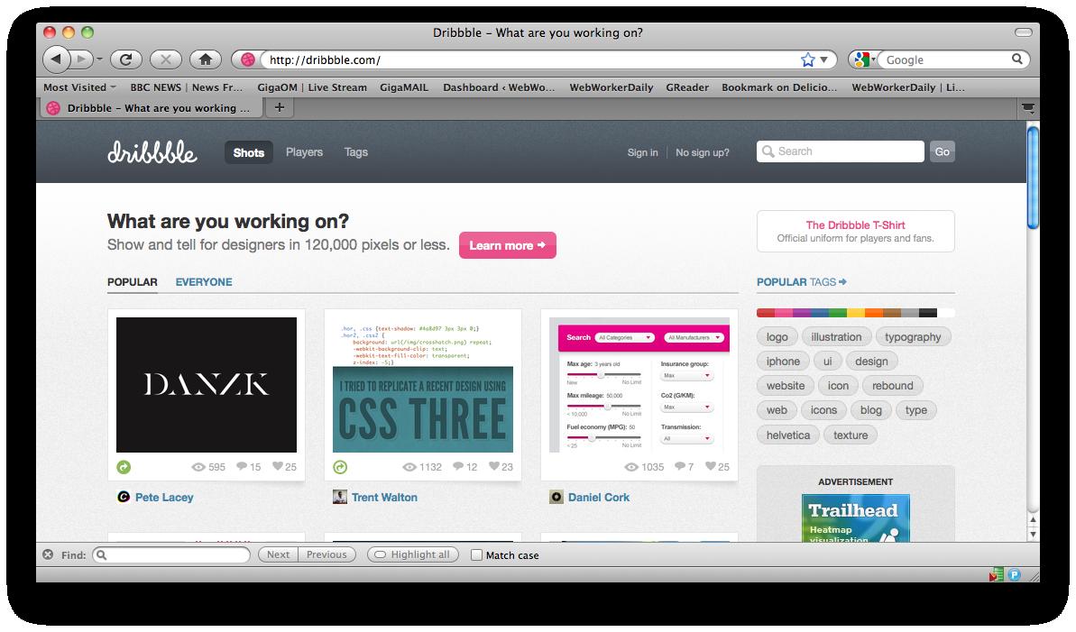 Dribbble.com, a rede social dos designers
