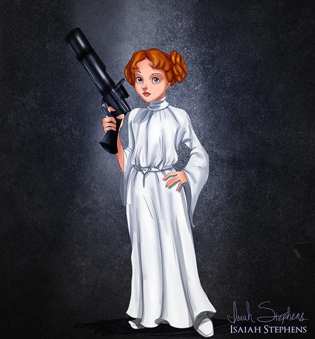 Isaías Stephens, ele criou uma série de ilustrações onde ele imagina as princesas da Disney deixando seus castelos vestidas para o Halloween.