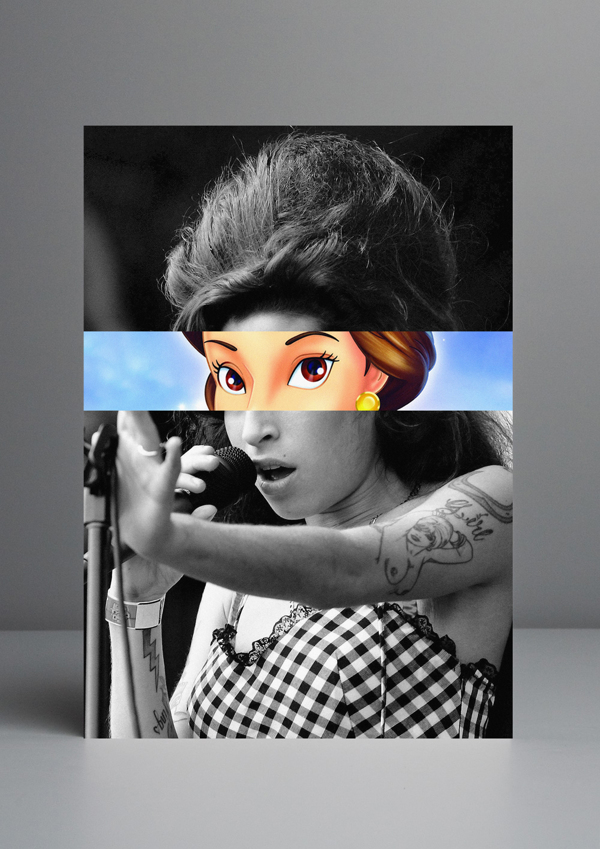 Artista troca olhos de celebridades por desenhos animados