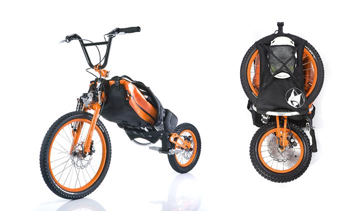É um sistema que envolve mochila e bicicleta