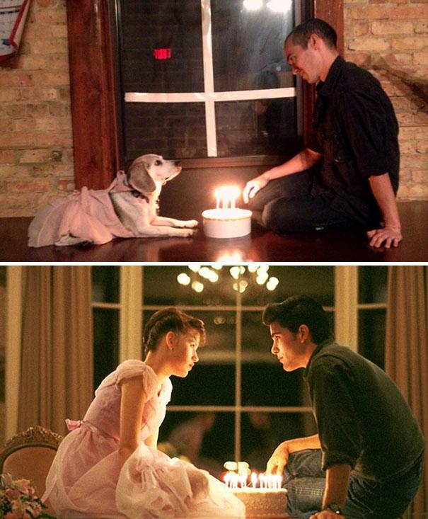 Artista recria cenas de filmes famosos com seu cachorro