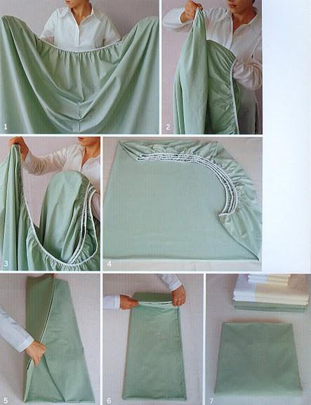 A forma correta de dobrar o lençol com elástico