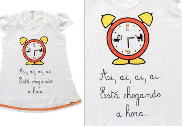 Está chegando a hora...  Porque esperar o bebê com uma camiseta divertida é mais legal!