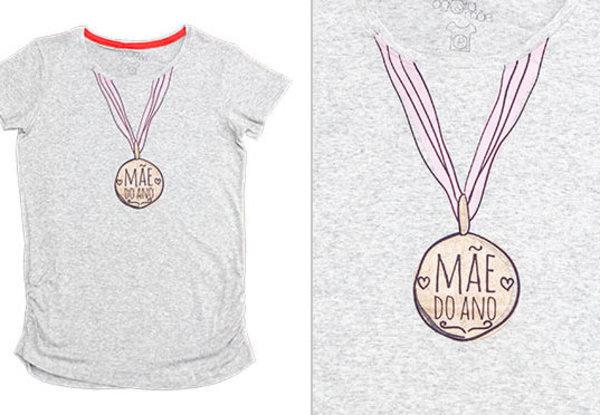 Medalha  As gravidinhas vão amar essa t-shirt da marca Agora Sou Mãe.