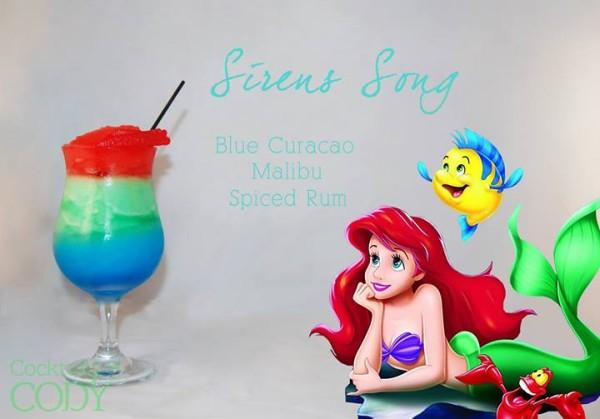 Drink Ariel: Curaçau Blue + Malibu + Rum