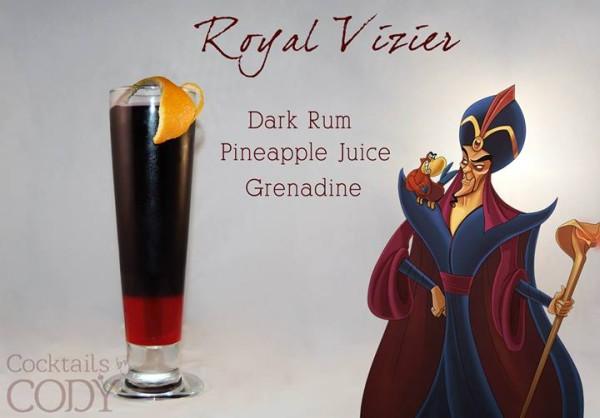 Drink Ja'far: Rum Preto + Suco de Abacaxi + Groselha