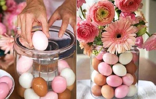 Você pode colorir cascas de ovos fervendo-as com um pouco de corante