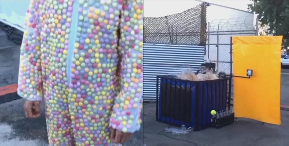 Este cara vestindo um traje de Mentos cai em tanque de Coca-Cola para ver o que acontece