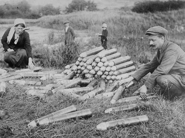 Munição das tropas alemãs abandonada na Batalha do Marne