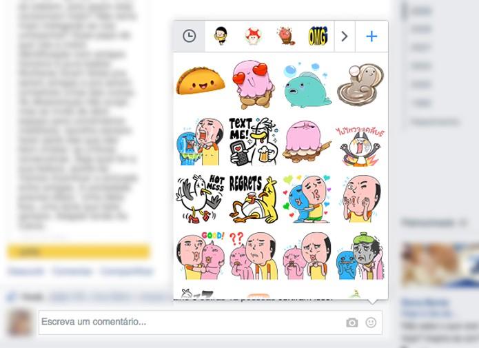 Como usar stickers e figurinhas em comentários no Facebook - Desktop 1