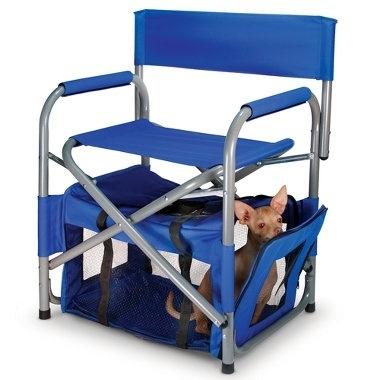 Você vai para um piquenique ou camping confira essa cadeira com compartimento para cachorros.