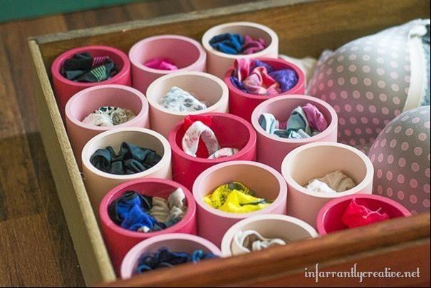 Organize sua gaveta de roupas íntimas usando tubos de PVC