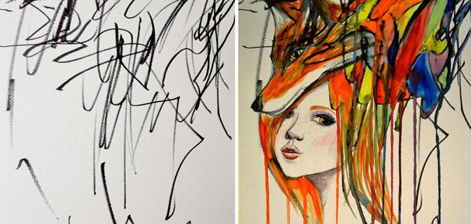 Artista transforma rabiscos da filha de 2 anos em arte