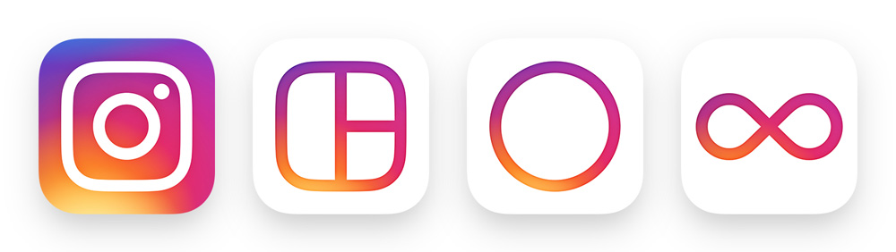 Família de ícones com Layout, Hyperlapse e Boomerang.
